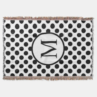 Simple Monogram with Black Polka Dots Throw Blanket