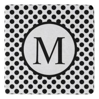 Simple Monogram with Black Polka Dots Trivet