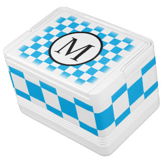 Simple Monogram with Blue Checkerboard