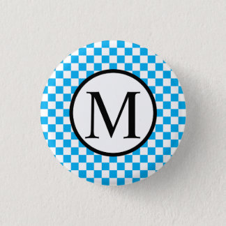Simple Monogram with Blue Checkerboard 1 Inch Round Button
