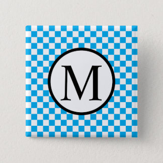 Simple Monogram with Blue Checkerboard 2 Inch Square Button