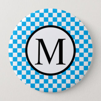 Simple Monogram with Blue Checkerboard 4 Inch Round Button