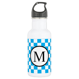 Simple Monogram with Blue Checkerboard 532 Ml Water Bottle