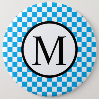 Simple Monogram with Blue Checkerboard 6 Inch Round Button