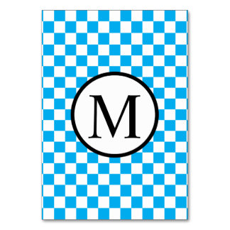 Simple Monogram with Blue Checkerboard Card