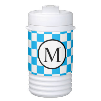 Simple Monogram with Blue Checkerboard Drinks Cooler