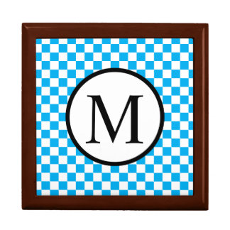Simple Monogram with Blue Checkerboard Gift Box