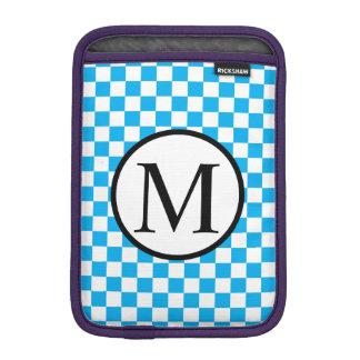Simple Monogram with Blue Checkerboard iPad Mini Sleeve