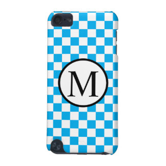 Simple Monogram with Blue Checkerboard iPod Touch 5G Case