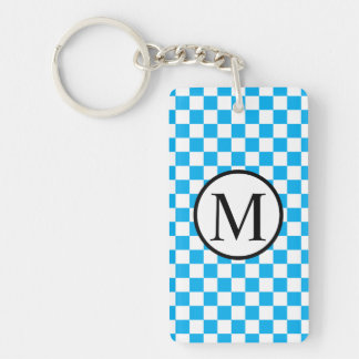 Simple Monogram with Blue Checkerboard Keychain