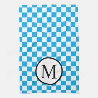 Simple Monogram with Blue Checkerboard Kitchen Towel