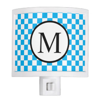 Simple Monogram with Blue Checkerboard Night Lights