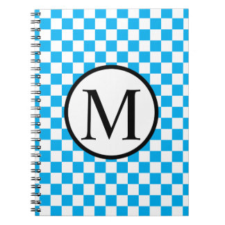 Simple Monogram with Blue Checkerboard Notebooks