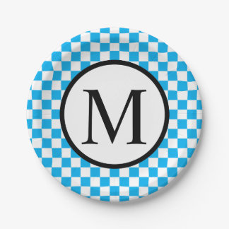 Simple Monogram with Blue Checkerboard Paper Plate