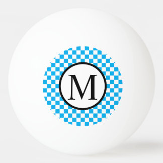 Simple Monogram with Blue Checkerboard Ping Pong Ball