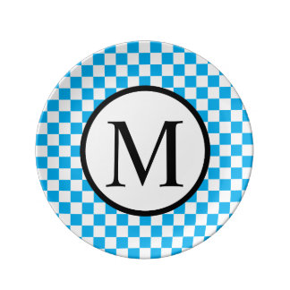 Simple Monogram with Blue Checkerboard Plate