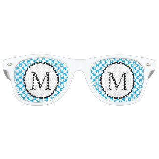 Simple Monogram with Blue Checkerboard Retro Sunglasses