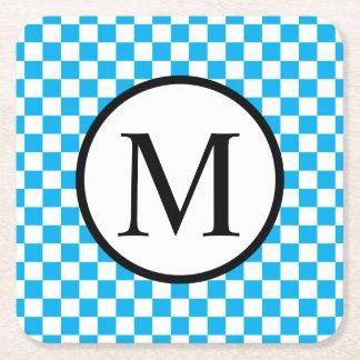 Simple Monogram with Blue Checkerboard Square Paper Coaster