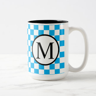 Simple Monogram with Blue Checkerboard Two-Tone Coffee Mug