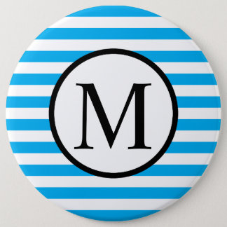 Simple Monogram with Blue Horizontal Stripes 6 Inch Round Button