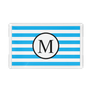 Simple Monogram with Blue Horizontal Stripes Acrylic Tray