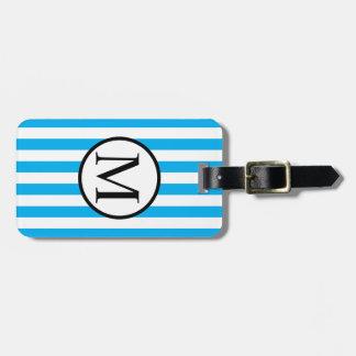 Simple Monogram with Blue Horizontal Stripes Bag Tag