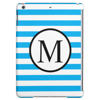 Simple Monogram with Blue Horizontal Stripes Case For iPad Air