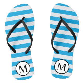 Simple Monogram with Blue Horizontal Stripes Flip Flops