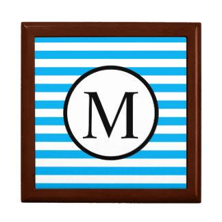 Simple Monogram with Blue Horizontal Stripes Gift Box