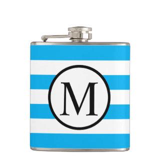 Simple Monogram with Blue Horizontal Stripes Hip Flask