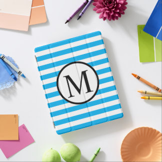 Simple Monogram with Blue Horizontal Stripes iPad Cover