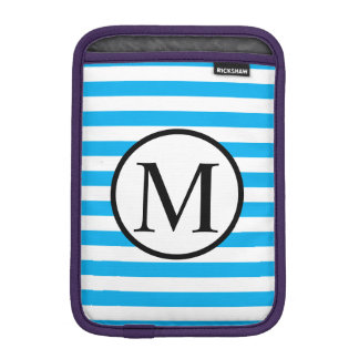 Simple Monogram with Blue Horizontal Stripes iPad Mini Sleeve