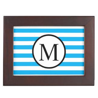 Simple Monogram with Blue Horizontal Stripes Keepsake Box