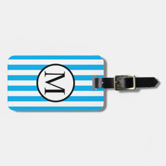 Simple Monogram with Blue Horizontal Stripes Luggage Tag