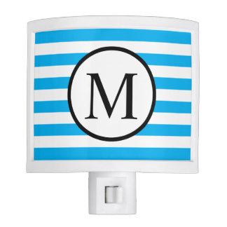 Simple Monogram with Blue Horizontal Stripes Night Lites