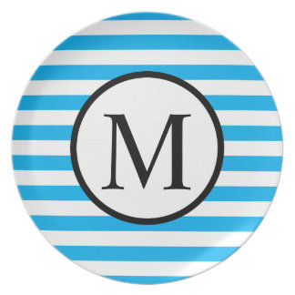 Simple Monogram with Blue Horizontal Stripes Party Plate