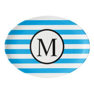 Simple Monogram with Blue Horizontal Stripes Porcelain Serving Platter