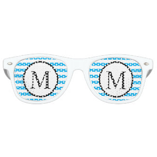 Simple Monogram with Blue Horizontal Stripes Retro Sunglasses