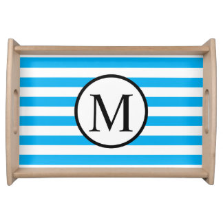 Simple Monogram with Blue Horizontal Stripes Serving Tray