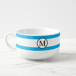Simple Monogram with Blue Horizontal Stripes Soup Mug