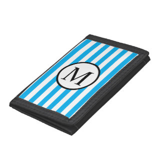 Simple Monogram with Blue Horizontal Stripes Trifold Wallet