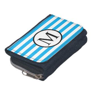 Simple Monogram with Blue Horizontal Stripes Wallet