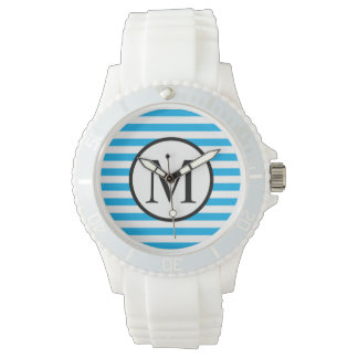 Simple Monogram with Blue Horizontal Stripes Wristwatches