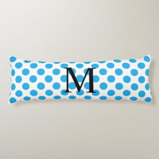 Simple Monogram with Blue Polka Dots Body Pillow