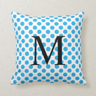 Simple Monogram with Blue Polka Dots Throw Pillow