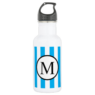 Simple Monogram with Blue Vertical Stripes 532 Ml Water Bottle