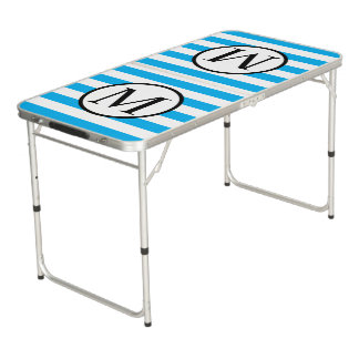 Simple Monogram with Blue Vertical Stripes Beer Pong Table