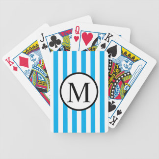 Simple Monogram with Blue Vertical Stripes Bicycle Playing Cards