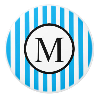 Simple Monogram with Blue Vertical Stripes Ceramic Knob