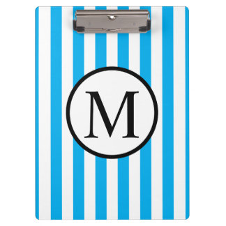 Simple Monogram with Blue Vertical Stripes Clipboard